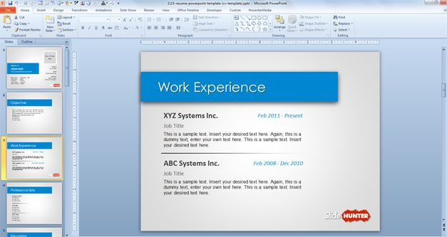work-experience-resume-cv-powerpoint