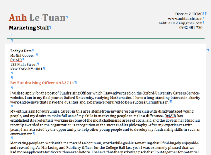 Mẫu CV & Cover Letter Ứng Tuyển Management Trainee